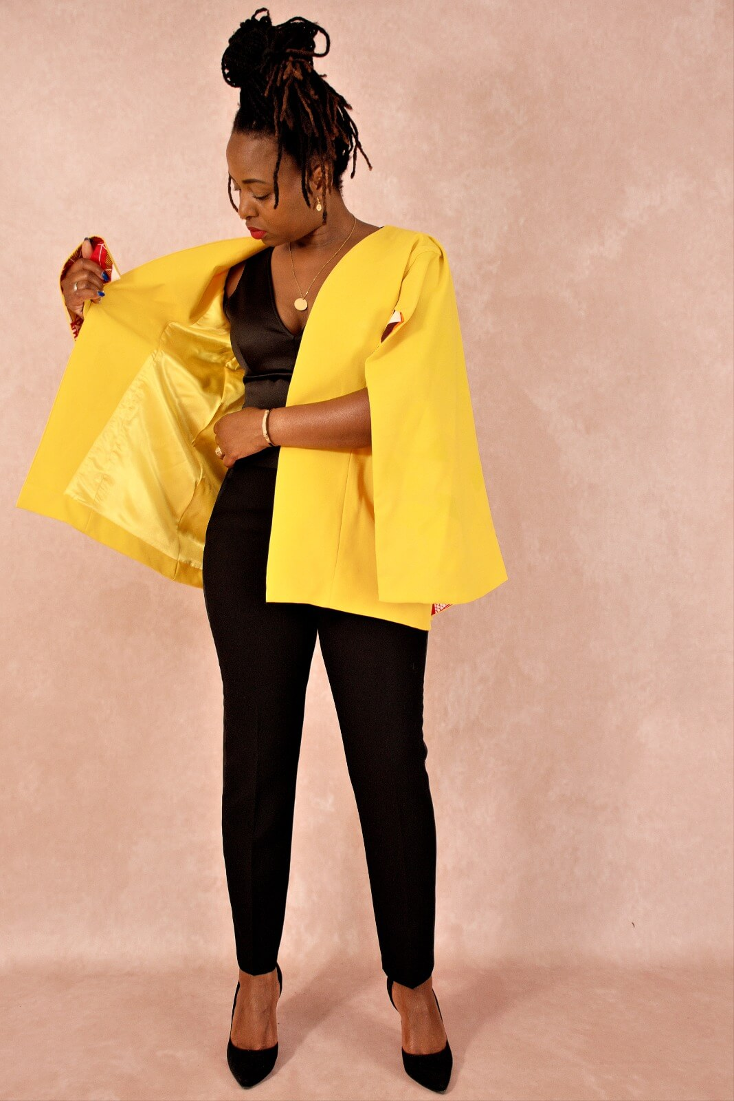 blazer cape yellow africaninspired pfeka clothing